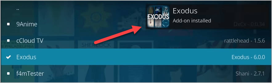 Exodus Addon Installed