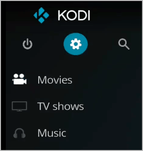 Kodi Settings Gear Icon