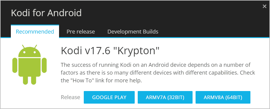 Kodi for Android versions