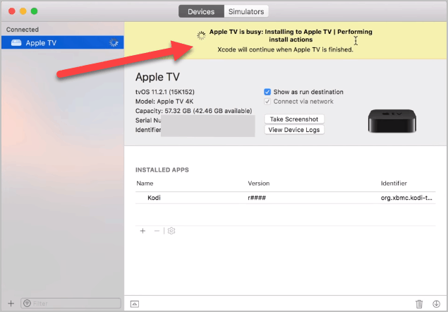 Kodi installation on Apple TV starts